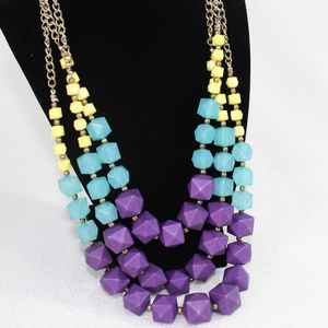 Charming Charlie Purple Blue Tiered Necklace